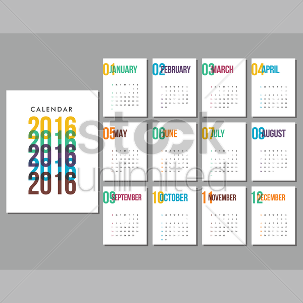 2016 calendar vector graphic
