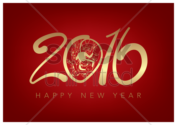 2016 happy new year vector graphic