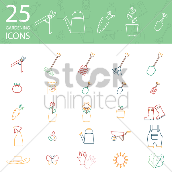 25 gardening icons vector graphic