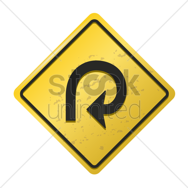 270-degree loop on right sign vector graphic