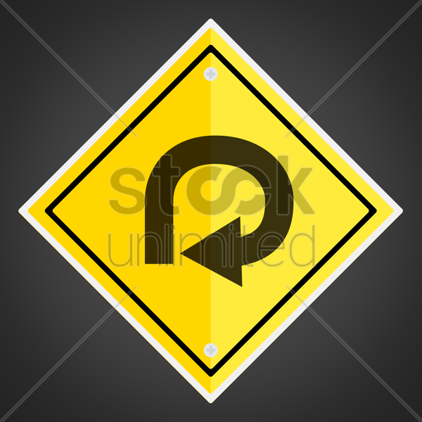 270 degree loop sign vector graphic