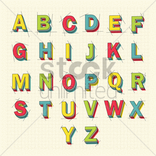 3d alphabet letters vector graphic