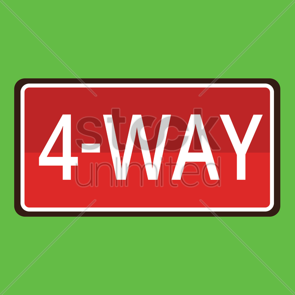 4-way road sign vector graphic