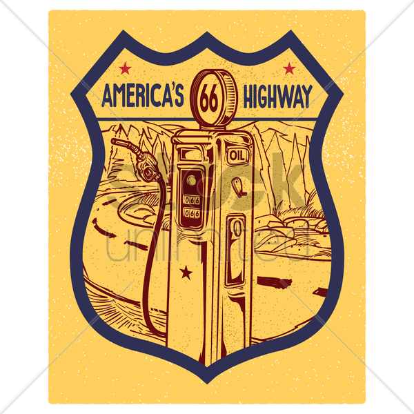 66 america's highway road sign vector graphic