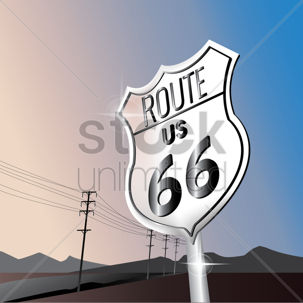 66 us route sign board vector graphic