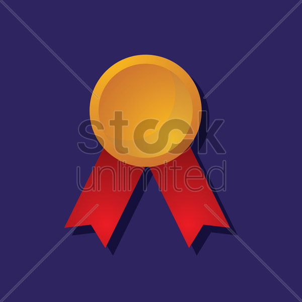 a badge with ribbons vector graphic