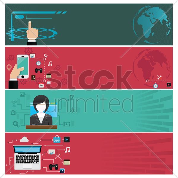 a banner collection of technological concepts vector graphic