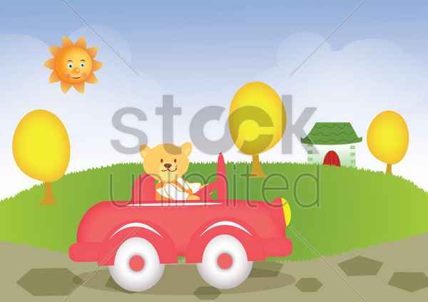 a bear driving vector graphic