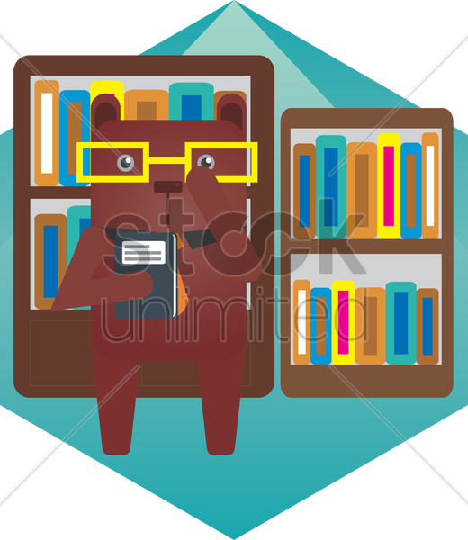 Free a bear in a library vector graphic
