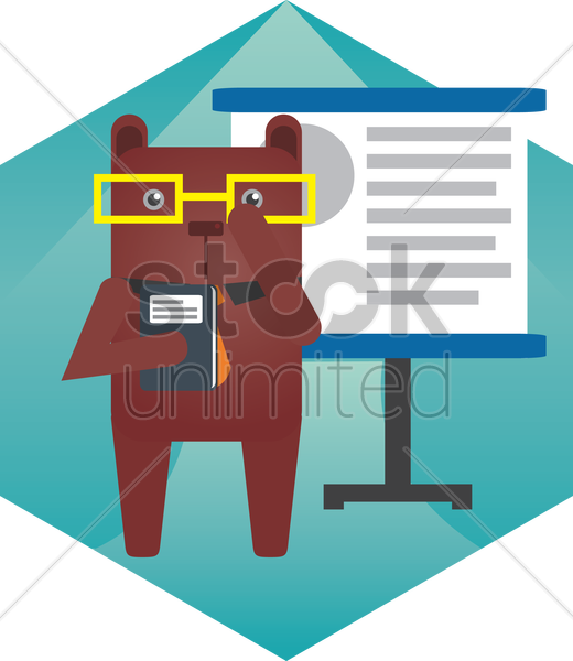 a bear teaching vector graphic