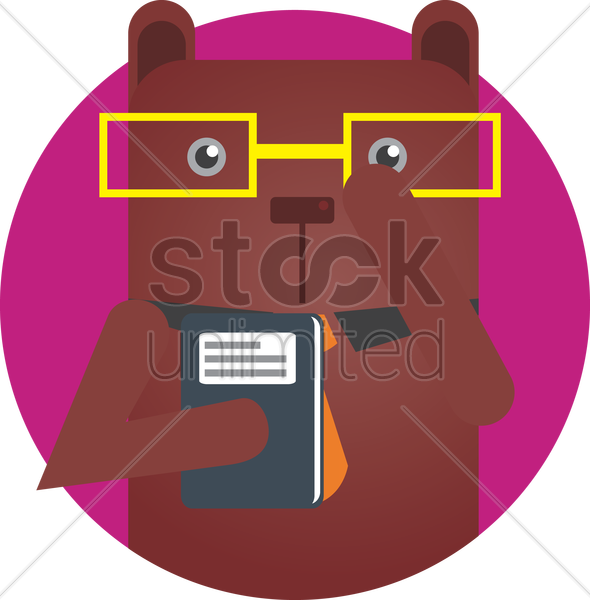 a bear with book vector graphic