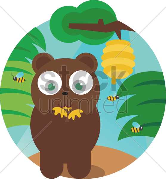 a bear with honeycomb vector graphic