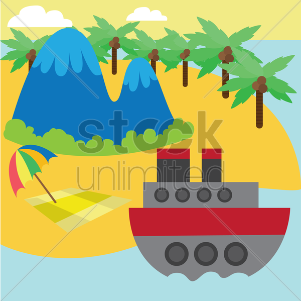 a boat cruise by the island vector graphic