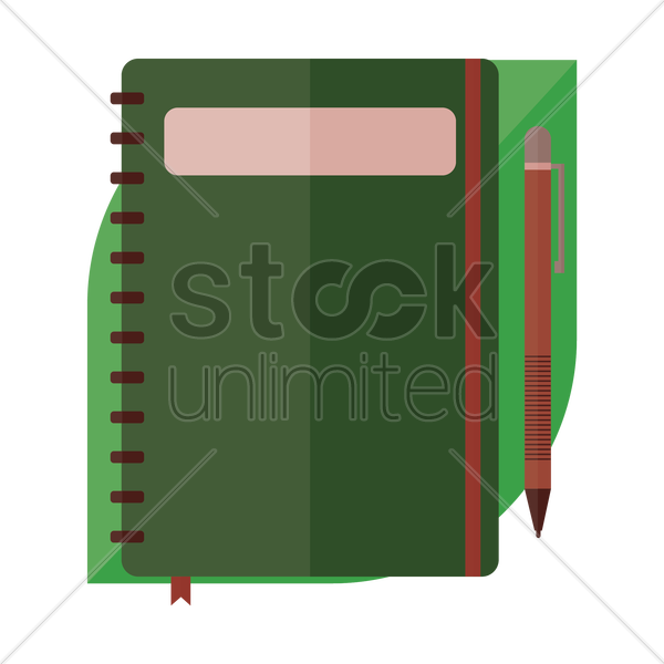 a book and pen vector graphic