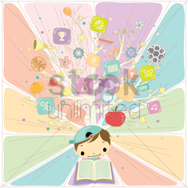 a boy reading with various education items on a tree vector graphic