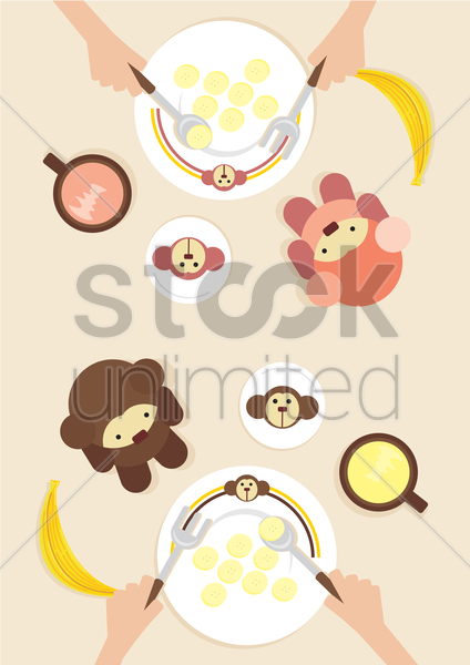 Free a breakfast table with bear icons vector graphic