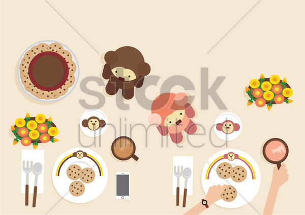 a breakfast table with toys vector graphic