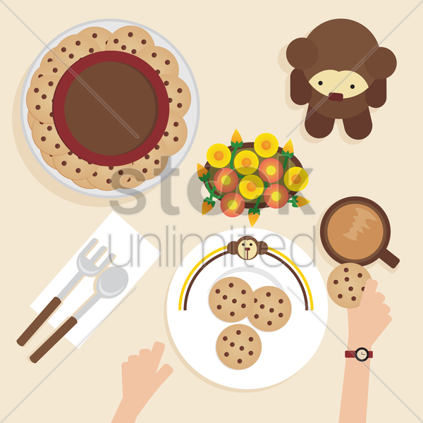 a breakfast table vector graphic