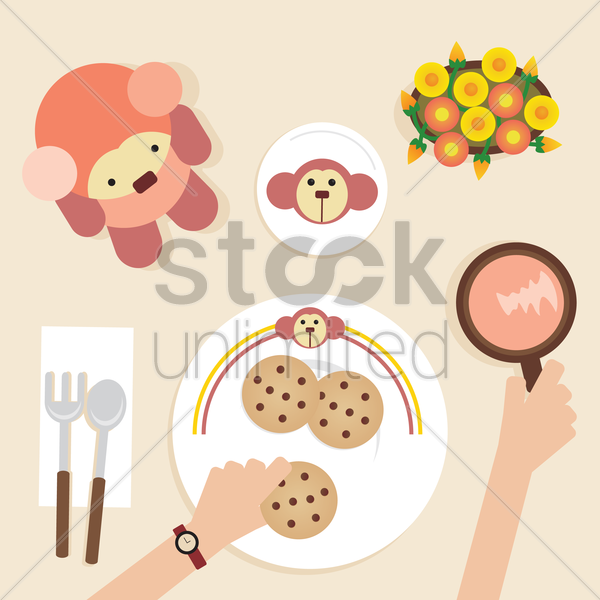 Free a breakfast table vector graphic