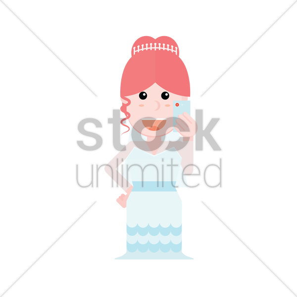Free a bride taking a selfie vector graphic