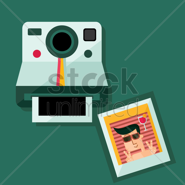 a camera and a photo of a man vector graphic