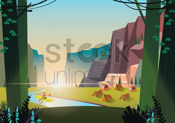 a campsite by the river vector graphic