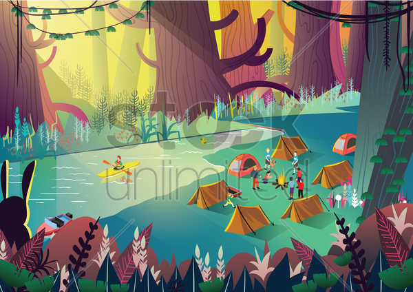 a campsite with many people vector graphic
