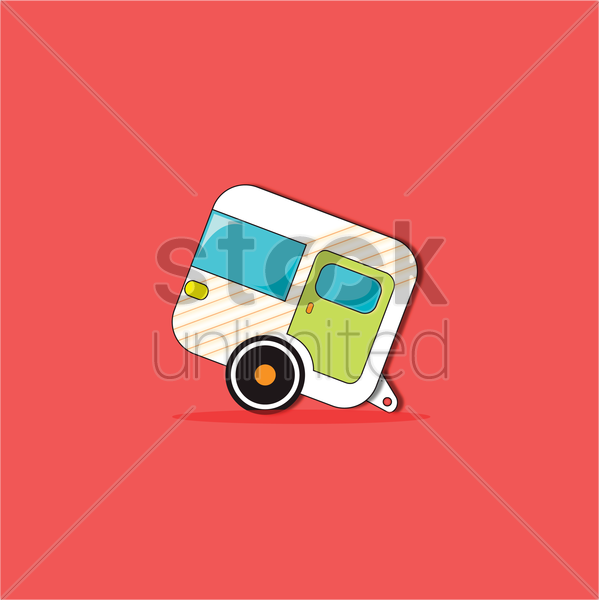 Free a caravan on red background vector graphic