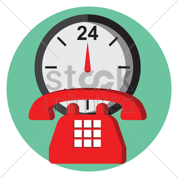 a clock and a telephone vector graphic