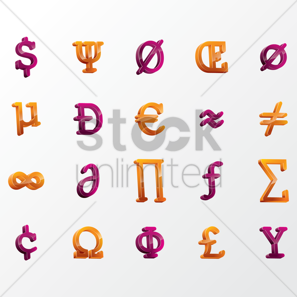 a collection of 3d symbols vector graphic