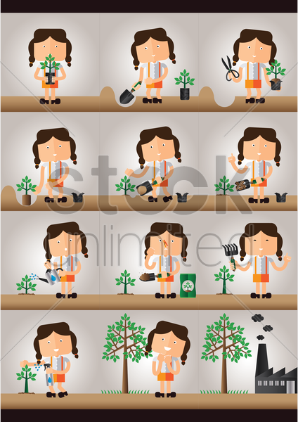 a collection of a girl planting a tree vector graphic