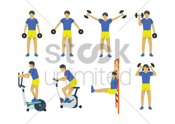 a collection of a man working out vector graphic