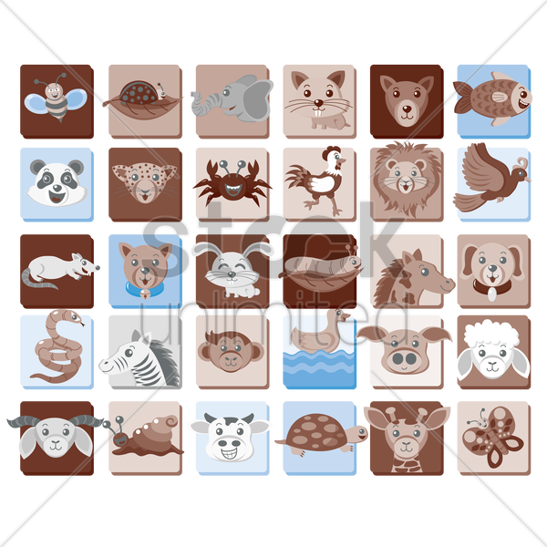 a collection of animals vector graphic