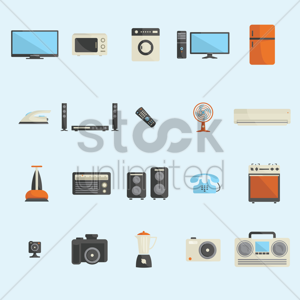 a collection of appliances vector graphic