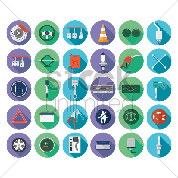 a collection of automobile items vector graphic