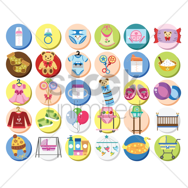 a collection of baby items vector graphic