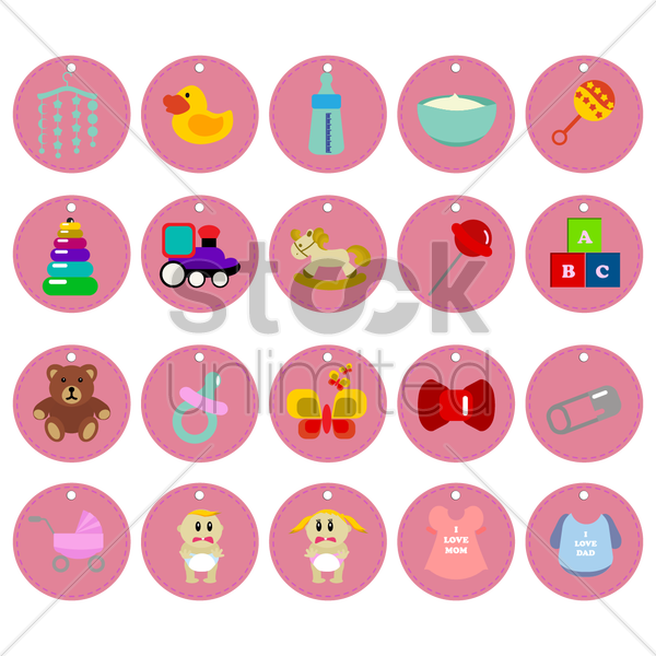 Free a collection of baby items vector graphic