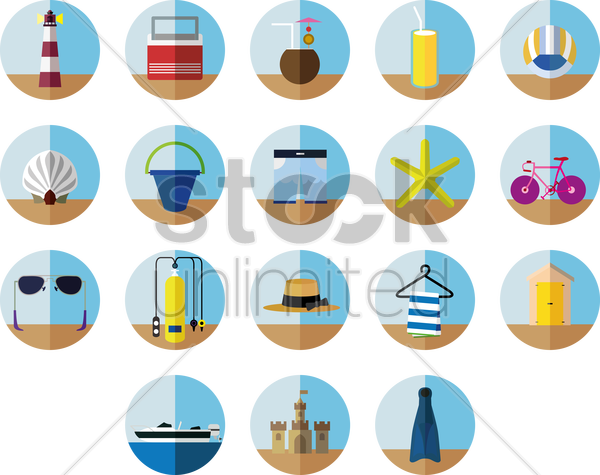 a collection of beach items vector graphic