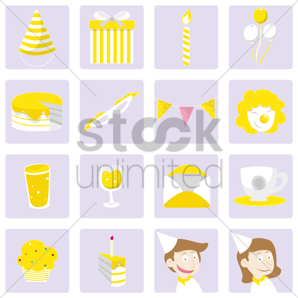 Free a collection of birthday items vector graphic