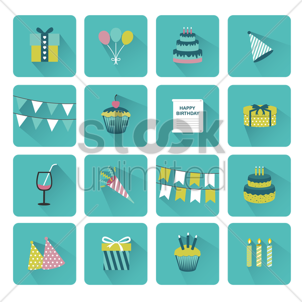 a collection of birthday items vector graphic