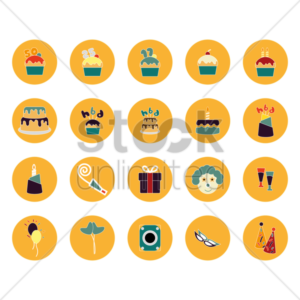 Free a collection of birthday party items vector graphic