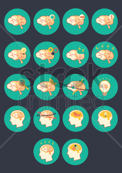 Free a collection of brain types vector graphic
