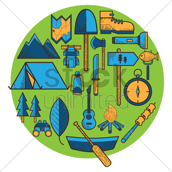 a collection of camping items vector graphic