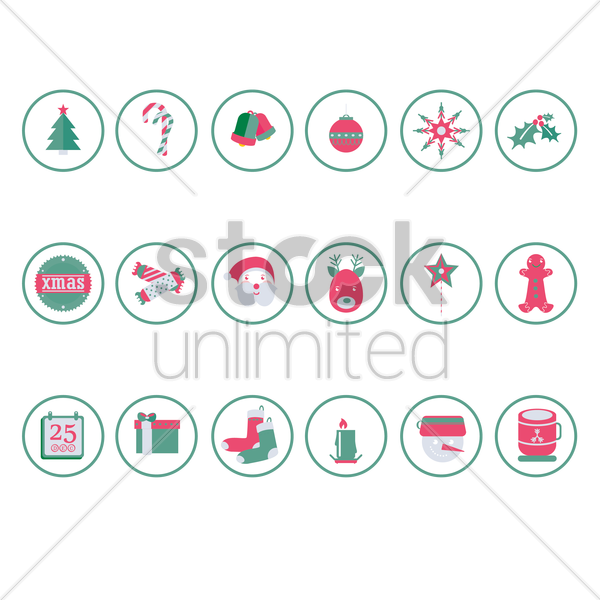 a collection of christmas items vector graphic