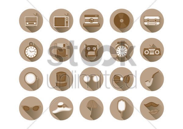 a collection of classical items vector graphic