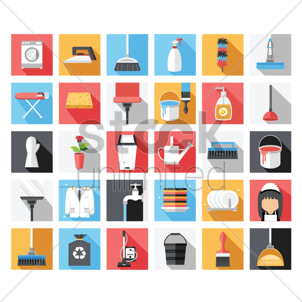 Free a collection of cleaning items vector graphic