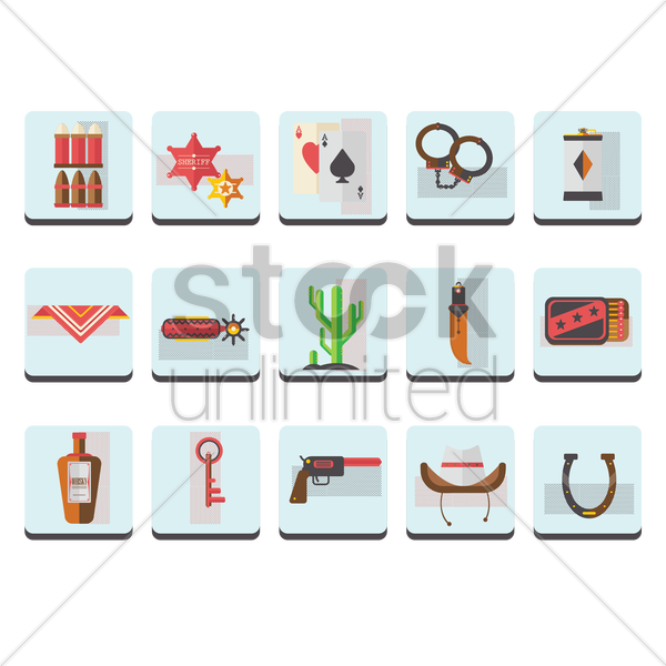 a collection of cowboy items vector graphic