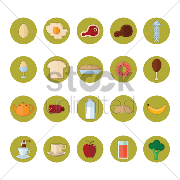 a collection of different food types vector graphic
