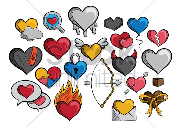 a collection of different types of hearts vector graphic