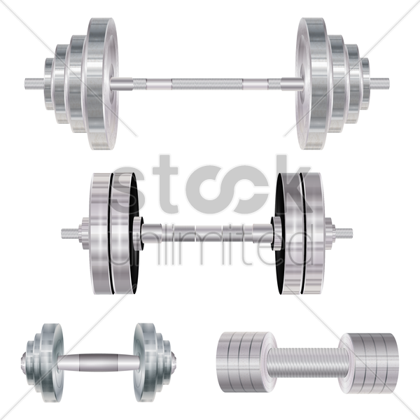 a collection of dumbbells and barbells vector graphic